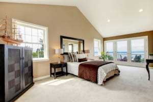 carpeting in a large bedroom