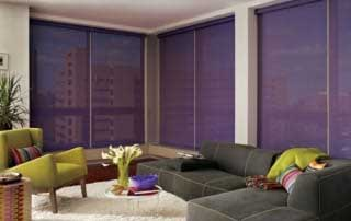 purple screen shades in a modern living room