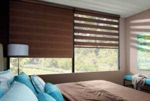Banded Shades in a bedroom