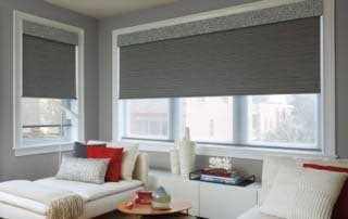 blackout shades in a guest bedroom