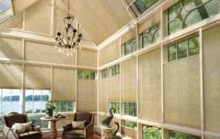 shades in a big sunroom