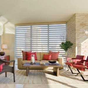 living room with Pirouette window shadings