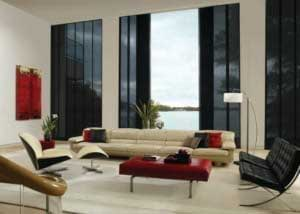 skyline window treatments in a living room