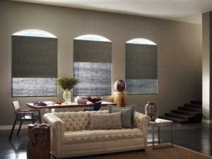 natural woven wood shades in a living room