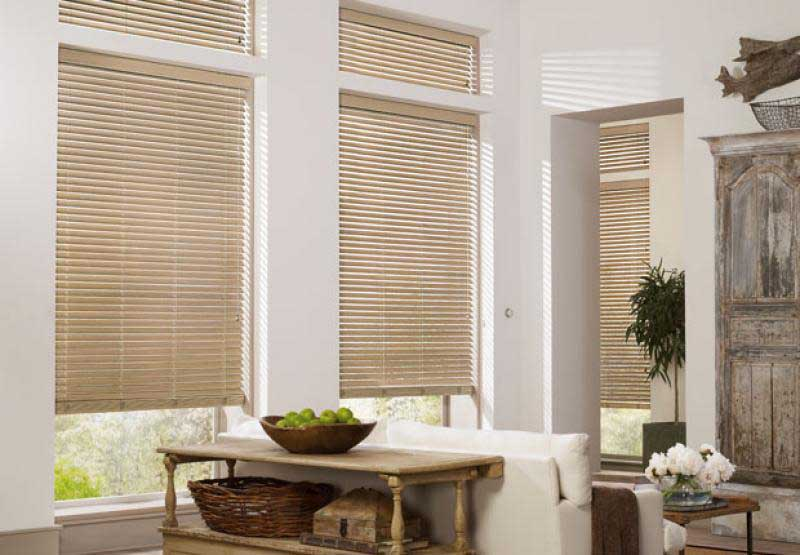 Parkland® Weathered horizontal wood blinds